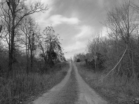 Road, Country, Black And White, Country Road, Landscape
