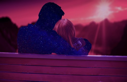 Sunset, Cosmos, Couple, Love, Eternity, Bench, Two