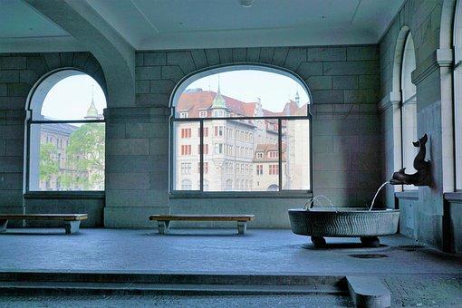 Fountain, Zurich, Sculpture, Water, Switzerland, Garden