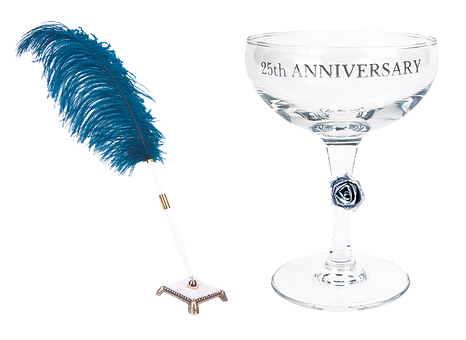 Anniversary, Glass, Pen, Champagne, Holiday, 25 Years