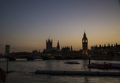 Big Ben, London, Skyline, Sunset, Landmark, Parliament