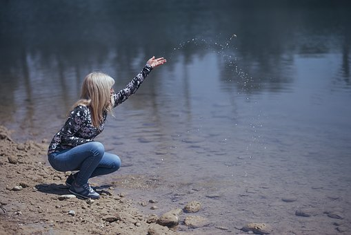 Girl, Model, Blonde, Forest, Green, Nature, Leaves