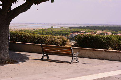 Bench, Lonely, Tree, Balcony, View, Peaceful