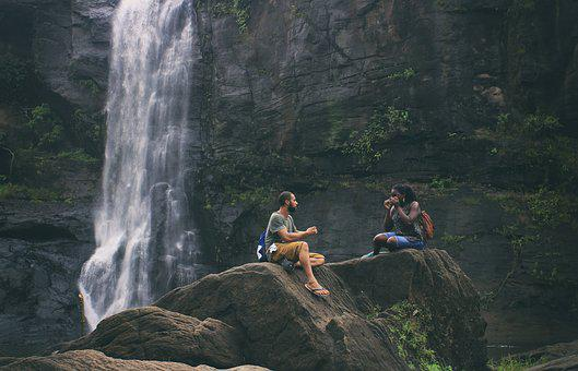 Waterfalls, Love, Couple, Woman, Young, Man, Romantic