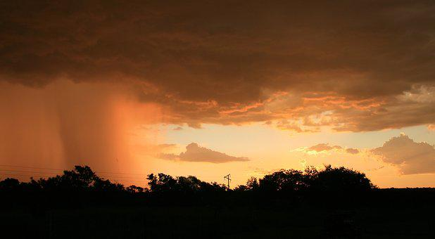 Sunset Landscape, Nature, Rain, Horizon, Outdoor