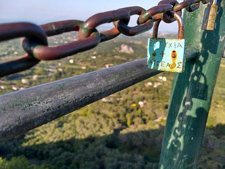 Padlock, Corfu, Trees, Sunshine