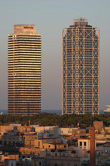 Skyscrapers, Barcelona, Facade, Architecture, City