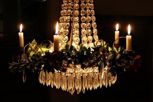 Candlelight, Crystal Chandelier, Christmas