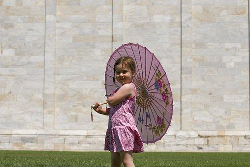 Italy, Parasol, Cute, Child