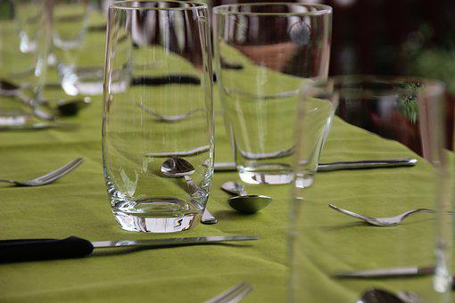 Glasses, Table, Covered, Garden Party, Drinking Glass