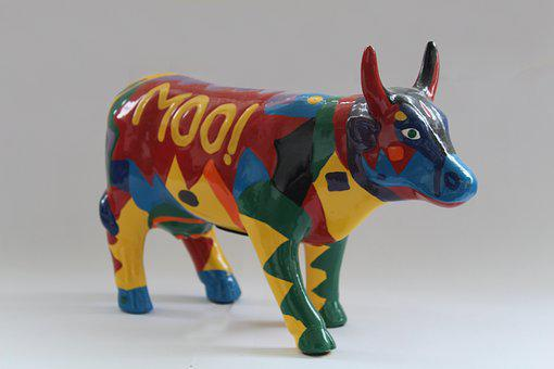 Cow, Piggy Bank, Colorful, Still, Finance, Economical