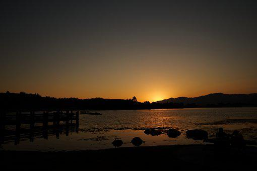 Sunset, Lake, Nature, Sky, Landscape, Sun, Sunlight