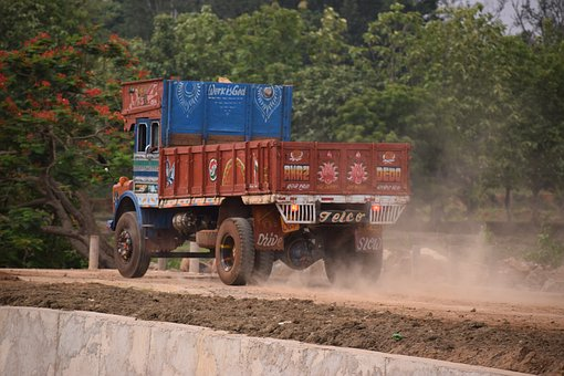 Truck, Road, Under Construction, Dust, Pollution