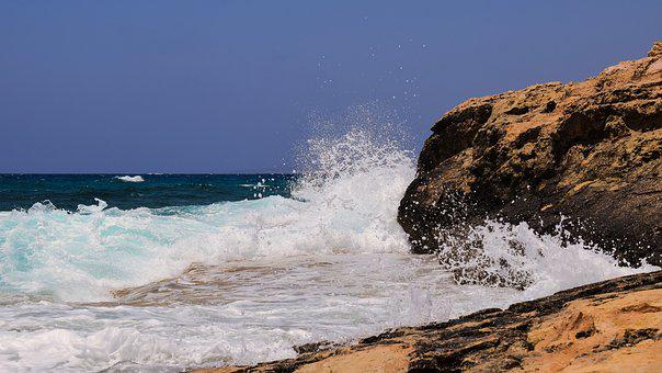 Rocky Coast, Sea, Waves, Nature, Blue, Landscape, Spray
