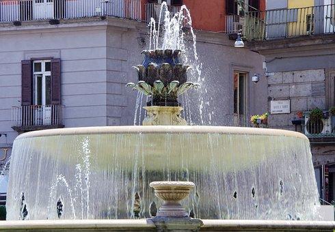 Naples, Fountain, Water, Refreshment, Light, Monument