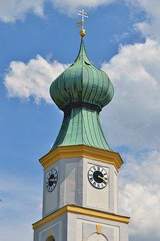 Steeple, Onion Dome, Church, Spire, Church Clock, Tower