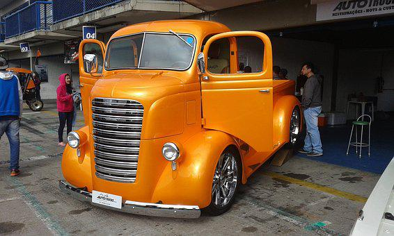 Truck, Orange, Motor