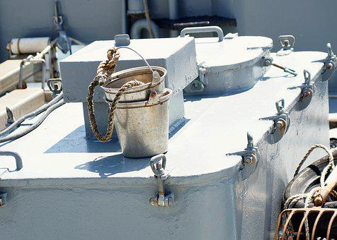 Bucket, Metal, Water Bucket, Rope, Draw, Ship, Fish