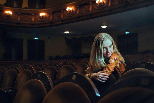 Girl, Theatre, Armchair, Blonde, Dress, Model, View