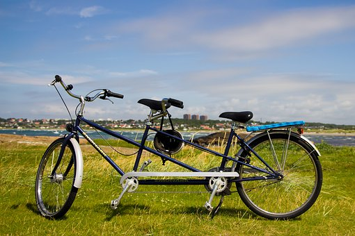Tandem, Cycle, Together, Couple, Law, Grass, Himmel