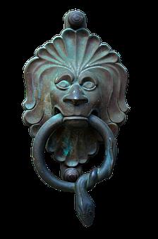 Doorknocker, Bronze, Metal, Lion, House Entrance