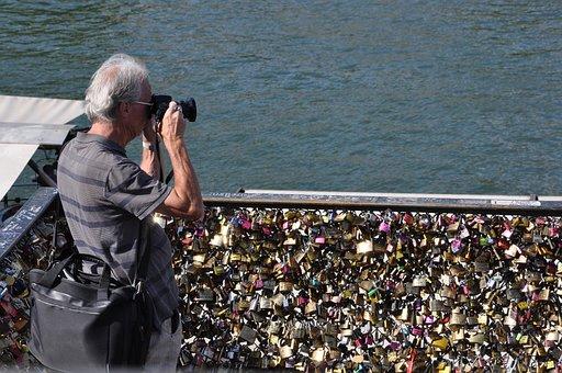 Paris, Photographer, Lock, Bridge, Love, Focus, Romance
