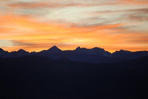 Sunset, Mountains, Landscape, Sky, Peak, Silhouette