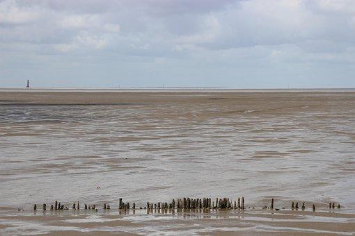 Watts, North Sea, Wadden Sea, Ebb