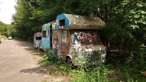 Wild, Worn, Overgrown, Hippie, Graffiti, Street Art