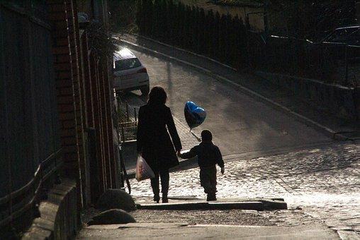 Street, Mother, Son, Family