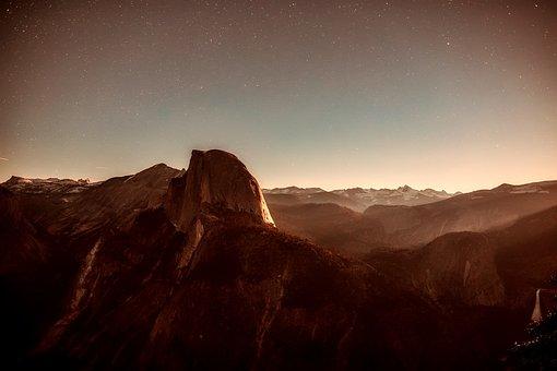 Mountains, Sunset, Dusk, Stars, Sky, Clouds