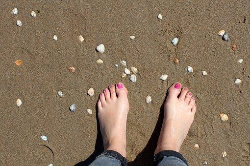 Feet, Beach, Mussels, Sand, Sand Beach, Sandy, Barefoot