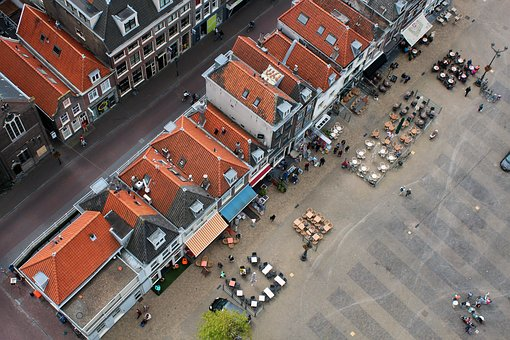 Roofs, City, From Above, Marketplace, Cafe, Out, Sit
