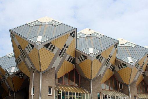 Architecture, Cube, Building, Askew, Square, Modern