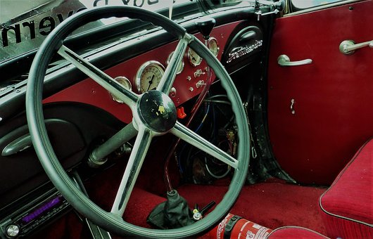 Steering Wheel, Speedo, Auto, Dashboard, Oldtimer
