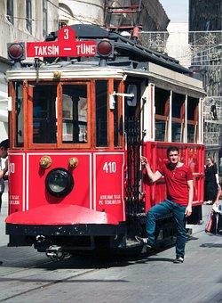 Trolley, Tram, Red, City, Public, Transportation, Urban