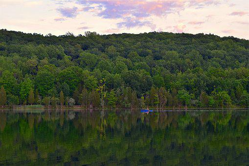 Kayak, Lake, Twilight, Park, Mountain, Forest, Water