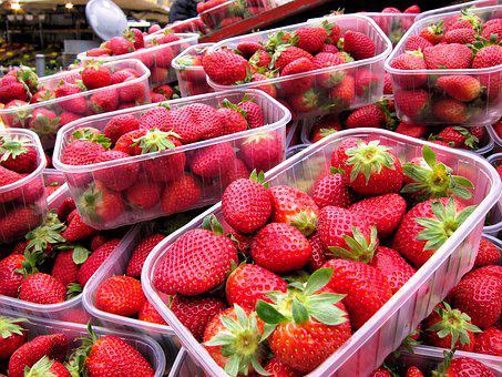 Strawberries, Fresh, Market, Fruit, Food, Red, Sweet