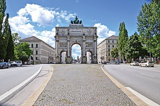 Munich, Siegestor, Building, Germany, Bavaria, Romantic