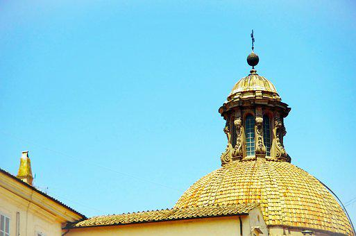 Italy, Rome, Dome, Church, Lantern, Roofing