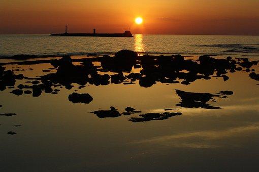 Sea, Water, Beach, Sunset, Twilight, Rocks