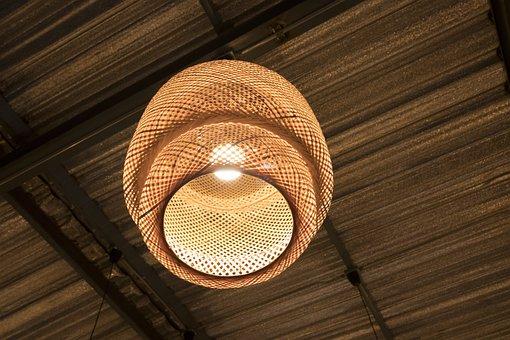 Lamp, Design, Roof, Background, Old, Dark, Light, White