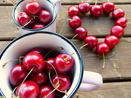 Cherries, Red, Cup, Heart, Fruit, Fruits, Sweet Cherry