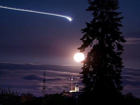 Moon, Night, Tree, Aircraft, Sky, Moon At Night