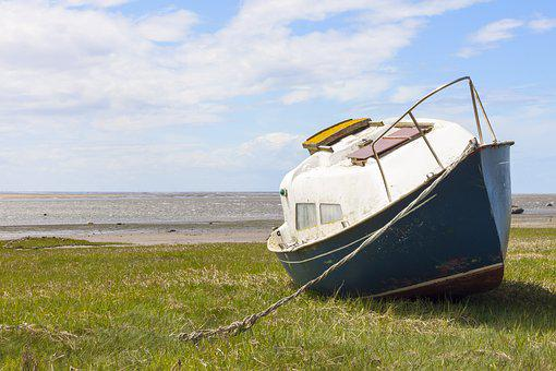 Boat, Abandoned, Water, Old, Wooden, Beach, Ship