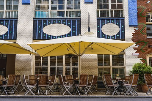 Cafe, Parasol, Chairs, Road, Berlin, Facade, Home