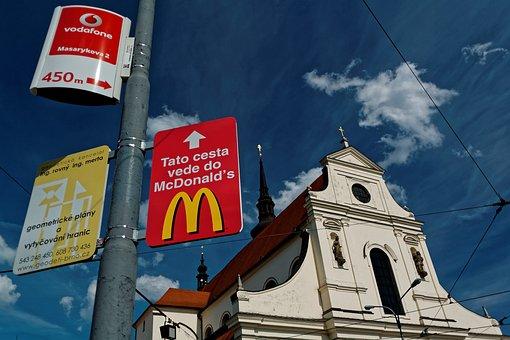 Church, Mcdonalds, Advertising, Ad, Brno