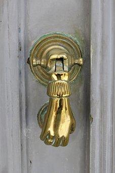 Door, Doorknocker, Gold, Antique, Input, Old Bell