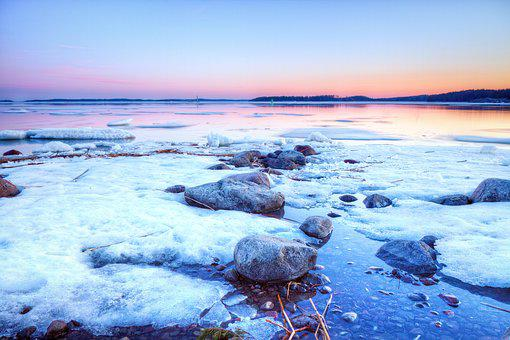 Winter, Finland, Harsh, Floe, Ice Raft, Rock, Snow