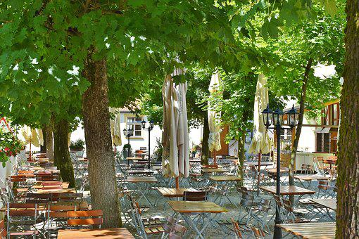 Beer Garden, Chairs, Dining Tables, Summer, Cozy
